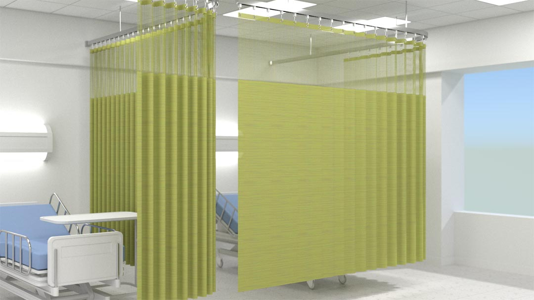 Cubicle curtains with mesh